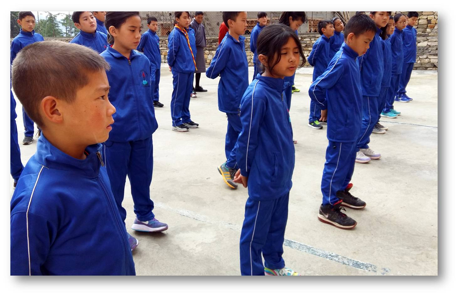 Children in newly arrived track suit